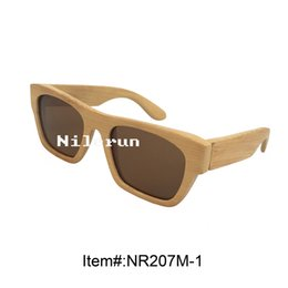 brown polarized lens natural bamboo frame sunglasses