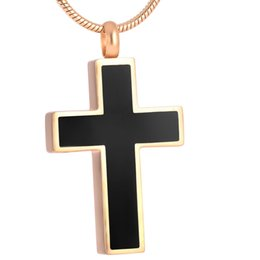 IJD8355 classic cross 316l cremation jewelry gold plated ash pendants never fade high quality urn jewelry