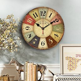 Wholesale Antique Vintage Round Wood Wall Clock Classical Wall Clocks Shabby Rustic Art Home Coffee Bar Decoration