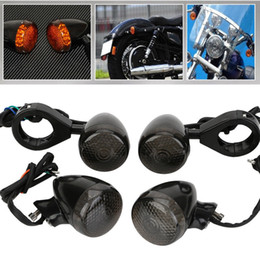 4x Black Front Rear Motorcycle LED Turn Signal Light 41mm Fork Clamp For Harley