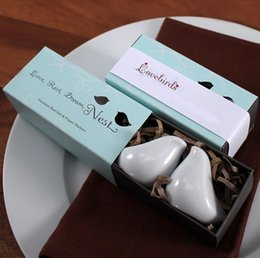 Wholesale Hot Selling Love Birds Salt and Pepper Shaker Ceramic Wedding Favors Presentes Wedding favors Supplies DHL FREE with modern designs