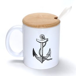 Wholesale Anchor Mug Coffee Milk Ceramic Cup Creative DIY Gifts Mugs oz With Bamboo cover lid Spoon S050