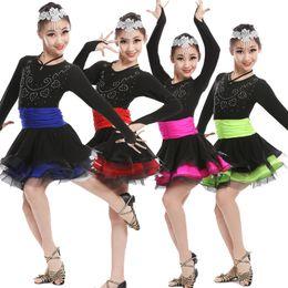 Girls Children long sleeve Modern Ballroom Latin Performance Dance Dress Kids Sequined Ballroom Latin Performance Dance Wear Outfits