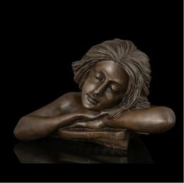 2017 artisanat villa Arts Artisanat Cuivre Maison Vivre Vestibule Décor Grand Bronze Sculptures Buste Bronze Statue Figurines méditation promotion artisanat villa