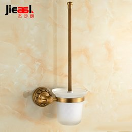 Wholesale Jieshalang Copper antique bathroom toilet brush set toilet brush cup set toilet cleaning brush rack creative