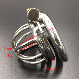 S024C Magic lock new chastity devices with spikes anti-off ring stainless steel small male chastity device