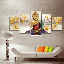 Wholesale No Frame Set Without Framed Creative Religious Orchid of Buddha Landscape Oil Painting