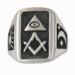 Wholesale Custom made stainless steel mens or wemens jewelry free masonary ALL SEEING EYE WITH MOON AND SUN SQUARE RULER MASONIC RING gift W74