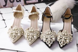 Wholesale Brand New Fashion CM High Heels Women Sandals Sexy Peep Toe Lady Pumps Strap Lace Upper Summer Shoes with Bead Party Wedding Shoes