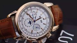 Wholesale Clásico marca hombres reloj Complicaciones Perpetuo calendario lunar fase reloj automático negro cinturones de cuero blanco vestido de la cara PP Relojes