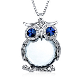 Wholesale Fashion Womens Necklaces Jewelry Trendy Charms Crystal Owl Necklace Gold Long Chain Animal Necklaces Pendants Hot Sale