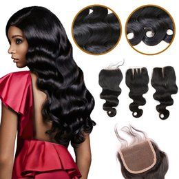 Resika Brazilian Virgin Hair Human Weave Closures Body Wave Natural Black 4x4 Lace Closures Three Middle Free Part 8-20 Inches