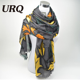 2016 foulards en coton de marque de gros Grossiste-Designer écharpes en coton sergé Grande Fleur d'impression Femmes Long Echarpes dames écharpe en dentelle X9A18435 foulards en coton de marque de gros à vendre