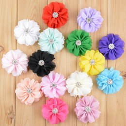free shipping 30pcs lot 15colors New Style Flat Back Rhinestone Kids Headdress Flower Lace Shabby Chiffon Flowers For Hair Accessories H041