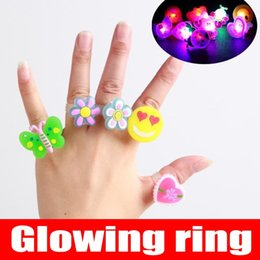 50pcs Lot Children's creative toys luminous gift flash ring finger LED emitting toys for kids Christmas Halloween gift