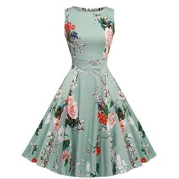 Party Cocktail Dress Vintage 1950s Floral Spring Garden 1940s 50s 60s Big Swing Rockabilly Plus Size Vintage Dresses For Party