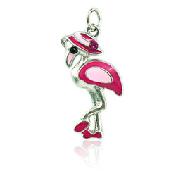JINGLANG Fashion Flamingo Charms Dangle Rose Enamel Rhinestone Animals Pendants DIY Charms For Jewelry Making Accessories
