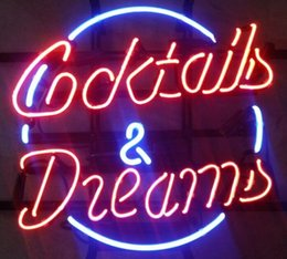 Cocktails And Dreams Real Glass Neon Light Sign Beer Bar