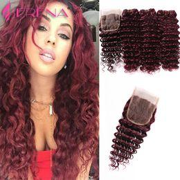 2017 7a encierro del pelo de la onda profunda 7A Borgoña Brazilian Hair Deep Wave La brasileña Virgin Hair Weave se une a Rosa Hair Product 99J Remy brasileño encierro rizado 7a encierro del pelo de la onda profunda oferta