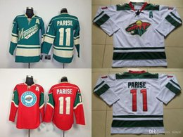 2016 New, Cheap Men's Minnesota Wild #11 Zach Parise Jersey Black White RED Lacing Neck Vintage Sewn High quality Ice Hockey Jerseys