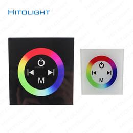 24v диммер панель для продажи-HITOLIGHT DC12-24V настенный стекло Сенсорная панель RGB Full Color Светодиодный контроллер для RGB Светодиодные полосы света 5050,2835 4 Кнопка Dimmer настенный выключатель