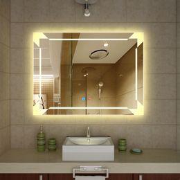 iluminado e iluminado grande hermoso decorativo montado en la pared frameless espejo de maquillaje profesional para bao o espejos de vanidad