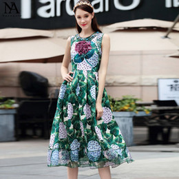 New Arrival 2017 Women's O Neck Beaded Sleeveless Appliques Printed Elegant High Street Fashion Dresses