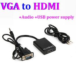 2017 adaptateur secteur pour la télévision Full HD 1080P VGA à HDMI Adaptateur de câble vidéo audio HDMI Convertisseur femelle avec câble USB Alimentation Pour PC portable DVD HDTV TV promotion adaptateur secteur pour la télévision
