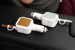 4.8A 2 puertos USB cargador de coche + 2 en 1 cable retráctil con 8 pines micro conectores USB para I teléfono y Android desde conector micro usb retráctil fabricantes