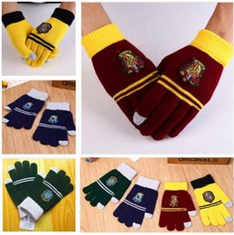Wholesale Harry Potter Badge Gloves Costume Winter Knitted Touch Screen Cosplay Warm Gloves Unisex Christmas Gifts Warmer Gloves