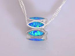 Wholesale & Retail Fashion Jewelry Fine Blue Fire Opal Stone Silver Plated Pendants For Women PJ16021419