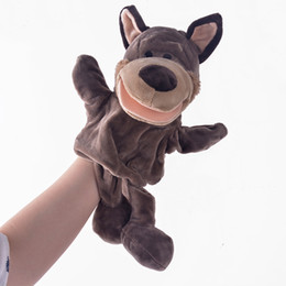 Venta al por mayor-Peluches Mano Puppets Simulación Animales Lobo Gris Puppets Niños Regalos Mano Puppet Parent-niño juego Plush Toys for Boys boys games kids promotion desde niños juegos niños proveedores