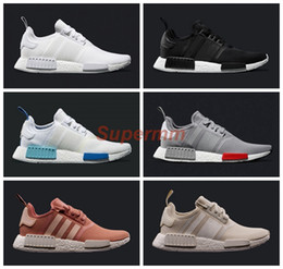Wholesale NMD Runner R1 Mesh Triple White Cream Salmon City Pack Men Women Running Shoes Sneakers Originals Fashion NMDs Runner Primeknit Sports Shoes