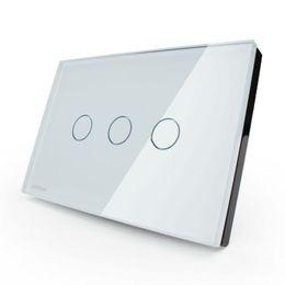 Descuento pantallas digitales LIVOLO Interruptores US / AU estándar VL-C303DR-81/82 Cristal Cristal Panel Digital Pantalla táctil Dimmer Control remoto Interruptor de la pared de pared + remoto