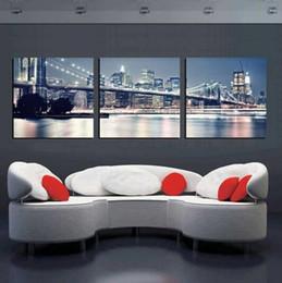 Ville peintures à l'huile de paysage en Ligne-3 Pieces City Night Art Pictures Paysage New York Peinture à l'huile sur toile Peintures modernes pour la décoration intérieure