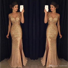 Gold Prom Dresses Crystal Beading Deep V Neck Mermaid Chiffon High Slit Evening Dress Wear Formal Party Dress