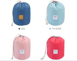 Wholesale New Korean elegant large capacity Barrel Shaped Nylon Wash Organizer Storage Travel Dresser Pouch Cosmetic Makeup Bag For Women