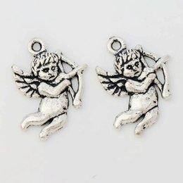 Wholesale 100pcs x15 mm MIC Antique Silver Cupid Angel Charms Pendants Jewelry Findings Components DIY L107
