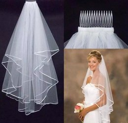 Cheap Bridal Veils 2 Layers Tulle with Comb 2017 Simple for Wedding Party Accessories Tulle Fast Shipping Stock for Photography