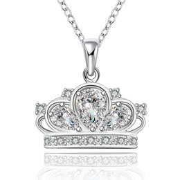 Wholesale Female necklaces pendants woman lucky pendant necklace women jewelry for girls accessories jewelrys Crown zircon sliver plated NK