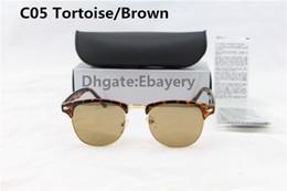Les brunes à vendre-50pcs excellente qualité lunettes de soleil designer de mode semi lunettes de soleil sans cadre pour les hommes femmes léopard marron 51mm verre lentilles avec boîtes boîte