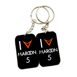 Wholesale 50PCS Lot I Love Maroon5 Silicone Dog Tag Keychain Promotion Gift Perfect Gift for Music Fans