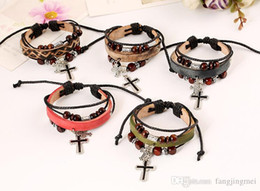 Pure manual bracelet Leather accessories The cross cowhide alloy bracelet with leather bracelet Rope buckle with both men and women