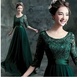 Wholesale New Arrival Hot Sale Fashion Elegant Stage Performance Organza Royal Sexy Annual Green Lace Long Sleeve Banquet Meeting Bridal Wedding Dress