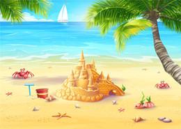 Descuento fondos de verano SUSU Dibujos animados Sandybeach Photography Backdrops Summer Party Vela Castillo foto de fondo para el bebé Estudio Video