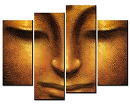 4 sets pictures of Face of Golden Buddha Paintings - The Picture For Living Room Decoration,City Pictures Photo Prints On Canvas