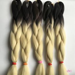 Wholesale 10Pcs Tresses de Crochet Top Qualité Ombre Kanekalon Tressage Extension de cheveux Deux tonalité Couleur Brun foncé Lumière blonde Couleur