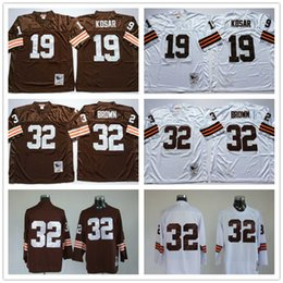 Promotion gros n Grossiste Throwback Browns 19 Bernie Kosar 32 Jim Brown Café Blanc Vintage TB MN Maillots de Football à vendre