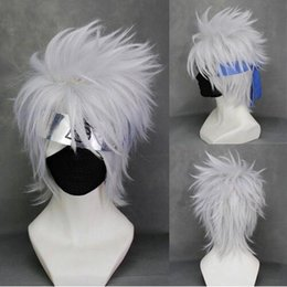 Hot sale !! Naruto Hatake Kakashi Cosplay Wig White Silver Short Anime Hair Synthetic Heat Resistant Wigs + Cap Wig Free