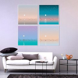 Wholesale Modern Beautiful Natural Scenery Ship Swan Cottage Canvas Art Print Poster Nordic Wall Picture Home Decor Painting No Frame